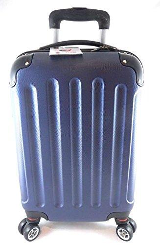 TROLLEY LUMI IDONEO RYANAIR Cm.55x40x20 ABS RIGIDO 8 RUOTE Misure Effetive 52x35x19 Bagaglio a mano cabina idoneo low cost (BLU)