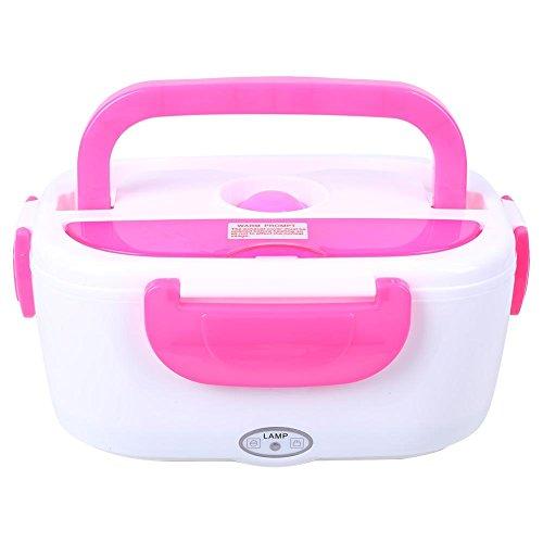 Contenitore per il pranzo portatile da 40 W, Bento Box in acciaio inossidabile con riscaldamento elettrico, Contenitori per alimenti a tenuta stagna Scaldavivande per scuola di lavoro(Rosa)