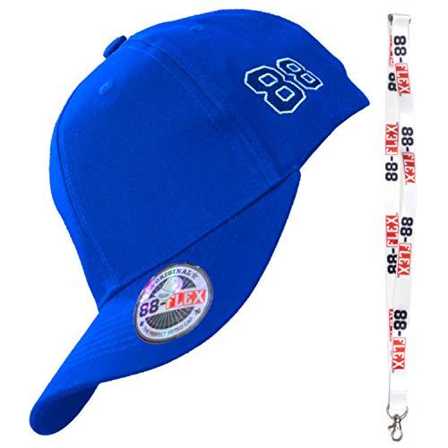 88-FLEX Baseball Cap Fitted Kappe für Herren Damen Mütze Flex Fit Hat Basecap Stretchkappe Stretch Back Mit Stick Logo NY Sport Erwachsene Baumwolle Blue Blau