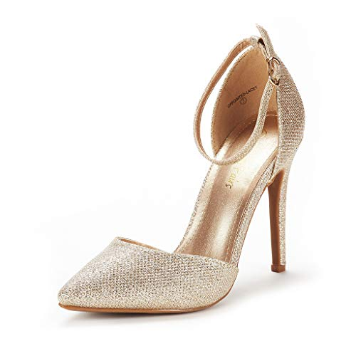 DREAM PAIRS Women's Oppointed-Lacey Gold Glitter Fashion Dress High Heel Pointed Toe Wedding Pumps Shoes Size 6 M US