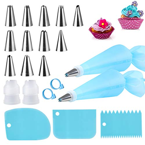 Silicone Icing Piping Bag,Reusable Cream Pastry Bag and 14× Stainless Steel Nozzle Set DIY Cake Decorating Tool(12×Nozzle, 2×Icing Cream Pastry Bag and 2 X Converter and 3×Scraper)