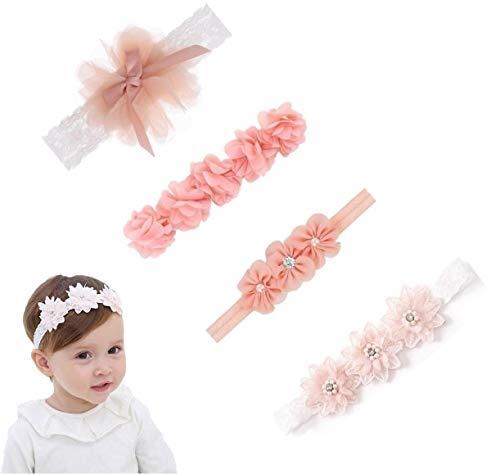 Baby Stirnbänder, 4 Stück Baby Kinder Haarband Mädchen Stirnband Kopfband Blumen Blüte Haarschmuck Headband Hairband Babygeschenke Taufe Geschenksets
