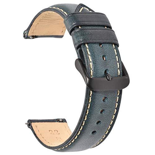ZXF Correa de reloj de 22 mm, 20 mm, 18 mm, correa de piel para hombres y mujeres con hebilla de acero inoxidable (color de la correa: azul oscuro, 2 mm, ancho de la correa: 20 mm)