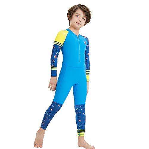 FYMNSI Kinder Badebekleidung Jungen Neoprenanzug Langarm Taucheranzug UV-Schutz UPF 50+ Einteiler Langarm Badeanzug Shwimmanzug Wärmehaltung Bademode Schutzkleidung Surfanzug Blau 7-8 Jahre