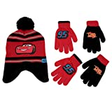 Disney Cars Lightning McQueen Winter Hat and 2 Pair Mittens or Gloves (Age 2-7), (Black, Red Gloves 4-7)