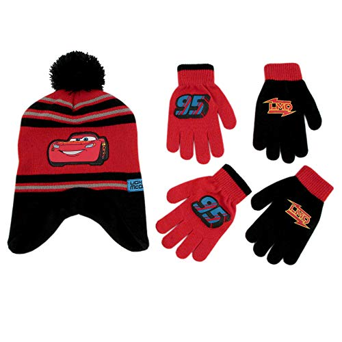 Disney Cars Lightning McQueen Winter Hat 2 Pair Mittens or Gloves (Toddler/Little Boys) (Age 2-7), (Black, Red Gloves 4-7)