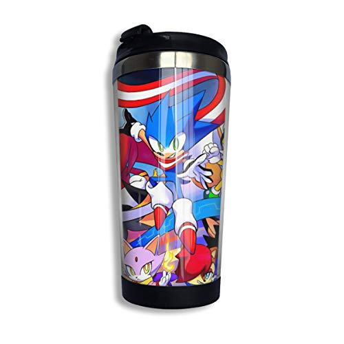 14 Oz Double Wall Cars Coffee Mug with Leakproof Lid, Reusable BPA Free Tumbler Mug for Baby Kids Party, Sonic Skyline Game Cute Thermos