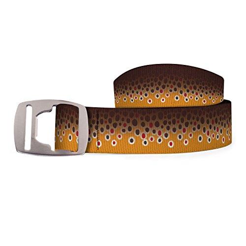 Croakies mens Artisan Bottle Opener Buckle Belt, Brown Trout Fish Skin , up to 52