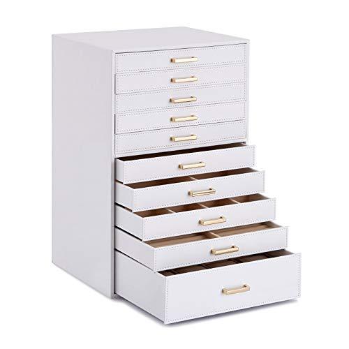 Meerveil Caja Joyero, Joyero con 10 Capas, Joyero Grande, Cuero PU, con cajones y Almohadas de Reloj, Caja para Joyas, Gafas de Sol, Relojes