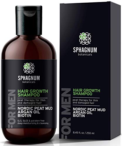 Hair Growth Shampoo for Men - Natural Biotin Boost with Argan Oil, Aloe Vera and Peat Mud - Effective Hair Loss Treatment for Thinning Hair - Helps With Dandruff