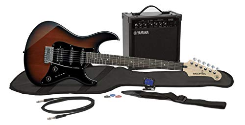 Yamaha GigMaker EG Electric Guitar Pack with Amplifier, Gig Bag, Tuner, Cable, Strap and Picks - Old Violin Sunburst