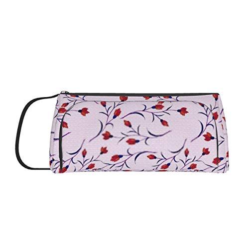 Großraum-Stifttasche Schreibtisch Organizer Briefpapierkoffer mit Reißverschlussfächern Paisley Blumen Arabisch Make-up Kosmetiktasche für Mädchen Jungen Teenager Studenten Erwachsene