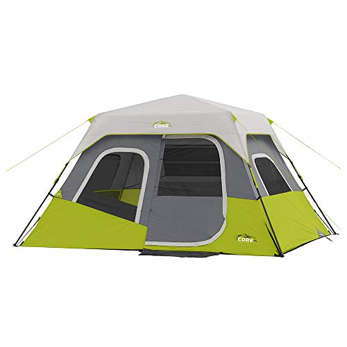 CORE 6 Person Instant Cabin Tent with Wall Organizer (Green)