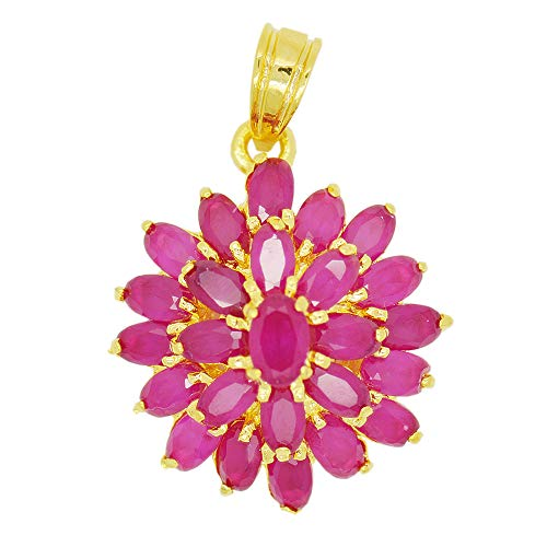 22k Yellow Gold Plated Cubic Zirconia CZ Pink Ruby Color AAA Flower Thai Pendant Choker Jewelry Beads Charm 2 * 2.2 cm