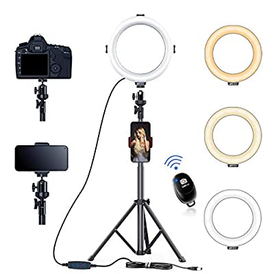 AFI Ring Light with Tripod Extendable Stand 3 Color Modes Dimmable 3200K-6500K Circle LED with Phone/Pad Holders Carrying Bag for YouTube Live Stream Makeup Vlog TikTok Selfie Zoom from