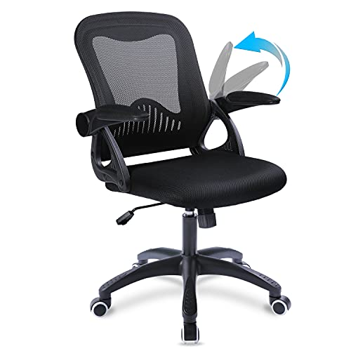 Qulomvs Computer Mesh Office Chair with Adjustable Armrests Executive Ergonomic Desk Chair with flip up Arms Mid Back 360 Swivel Task Chair with Wheels (All Black)