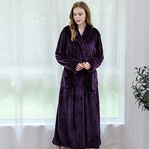 DPKDBN dames ochtendjas met capuchon, extra lang, warm, winter, kimono, badjas