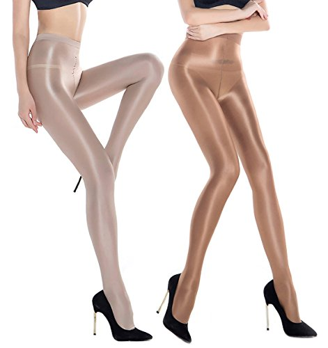 RICHTOER 2 Pairs Shaping Socks Oil Socks Shiny Silk Stockings Pantyhose Dance Tights (Champagne and Nude)