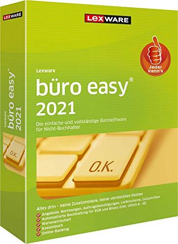 Lexware büro easy 2021 Minibox (Jahreslizenz) Bürosoftware mit Basisfunktionen, Kassenbuch, Warenwirtschaft u.w. Kompatibel mit Windows 8.1 oder aktueller Basis 1 1 Jahr PC Disc