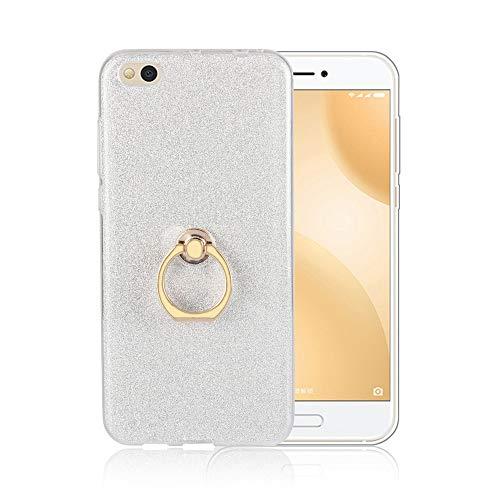 GARITANE Hülle für Xiaomi Mi 5C,Bling Glitzer Handyhülle Clear Silikon Bumper Tasche Hülle Cover mit Ring Ständer Fingerhalterung (Weiß)