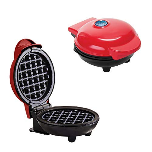 Mini Waffle Maker Portable Grill Machine+ Plancha eléctrica redonda, para gofres, paninis,...