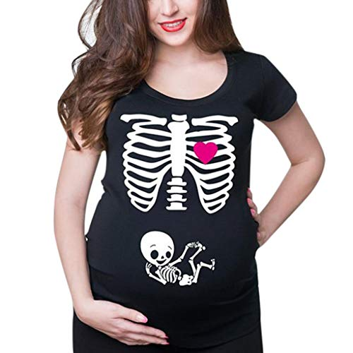 Mitlfuny Shirt Camiseta Premamá Estampado bebé asomándose para Mujer Mujeres Maternidad Manga Corta impresión de Esqueleto Tops Camiseta Ropa Casual Embarazada