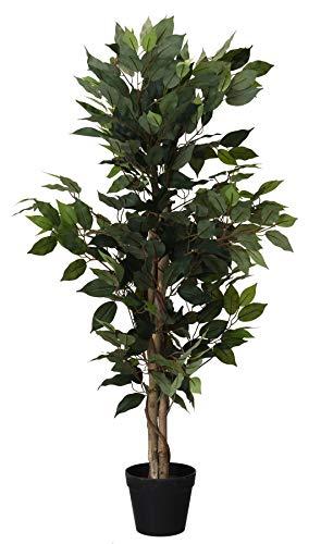 Spetebo Kunstpflanze Benjamini im Blumentopf - 115 cm - Deko Pflanze Zimmerpflanze künstlich Kunstbaum Birkenfeige (grün)