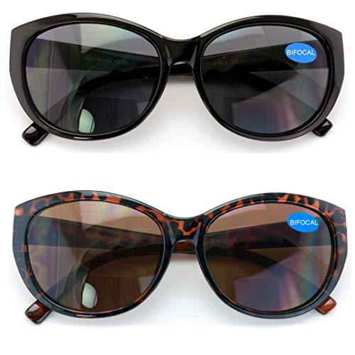 2 Pairs Women Bifocal Reading Sunglasses Reader Glasses Cateye Vintage Jackie Oval (1 Black 1 Tortoise, 2.25)