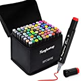 80 Colors Alcohol Drawing Markers, Plus 1 Colorless Blender and 1 Hook Line Pen, Classic Series Dual Tips Permanent Markers for Kids, Students, Beginner, Adult Coloring Sketch Art Markers