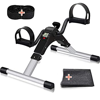 TABEKE Pedal Exerciser Under Desk Bike Stationary Pedal Exerciser for Arm and Leg Workout Portable Folding Sitting Desk Cycle