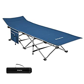 KingCamp Lit de Camping Pliant Stable et Robuste Quick Up avec Poche Latérale jusqu'à 120kg pour Intérieur et Extérieur Camping Randonnée