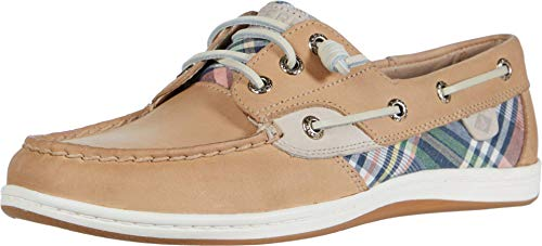 Women's Sperry, Songfish Boat Shoe TAN Plaid 6.5 M