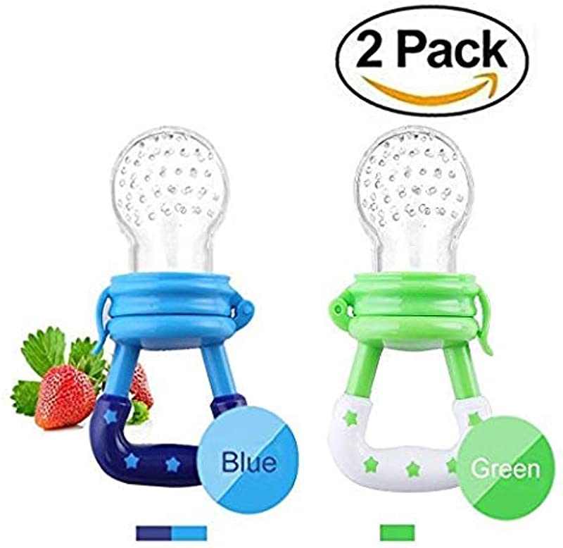 Baby Fresh Food Feeder Silicone Feeder Silicone Teether Feeder Pacifier Toy With Handgrip For Boys And Girls 2 PCS 6 12 Months Blue Green