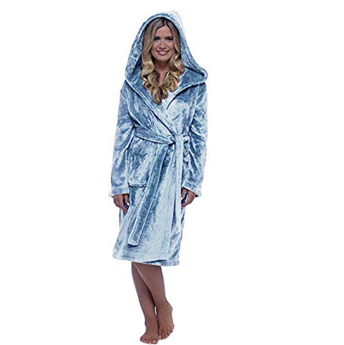 GAOHONGMEI Albornoz con capucha para mujer, de franela peluda, para mujer, bata de baño de felpa, bata para el hogar, pijamas, chal, toalla de baño, envoltura de baño 003-S