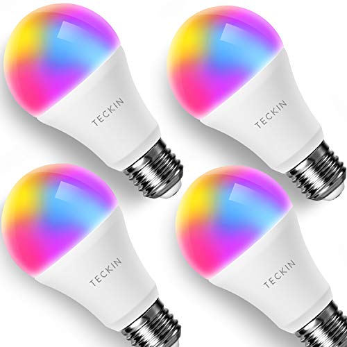 Smart WiFi Light Bulb with Soft White Light, TECKIN 16 Million RGB Color Changing LED Bulb That Work with Alexa, Google Home (No Hub Required), 7.5W (60w Equivalent),4 Pack