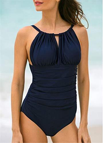B/H Mujeres Vintage Push up Bañador,Bikini Triangular de una Pieza, Fruncido Sexy, Espalda Abierta Slim-XL, Alto Retro Mujer Sexy Traje De Baño