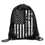 Lawenp Plegable Nurse American Flag Drawstring Backpack Beam Mouth Sport Bag Shoulder Bags for Men & Women