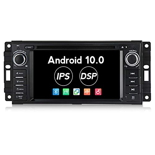 Android 10.0 Car Radio 2G RAM Car Stereo for Jeep Wrangler Dodge Chrysler Car DVD Player Built-in IPS DSP Support Bluetooth WiFi 2 Din Stereo with Mic and SD Card Latest Map Update