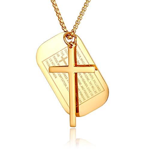JewelryWe Schmuck Herren Kreuz Halskette, Retro Kruzifix Englisch Bibel Herr Gebet Erkennungsmarken Dog Tag Anhänger mit 24 Zoll Kette, Edelstahl, Gold, kostenlos Gravur