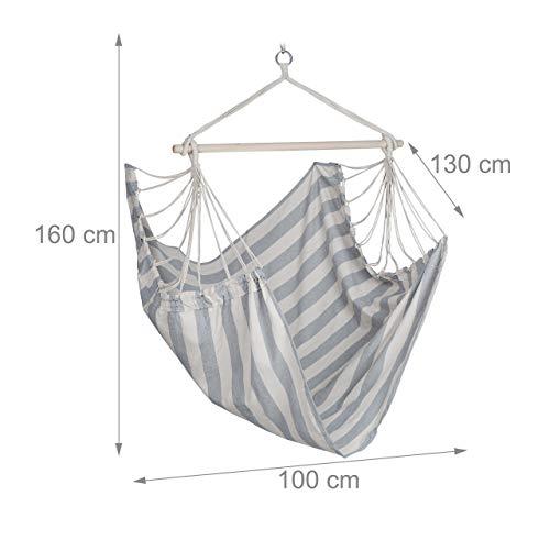 Relaxdays Hängesitz, XL Hängesessel aus Baumwolle, für Kinder & Erwachsene, Aufhängung, In-& Outdoor, 150 kg, grau/weiß - 6