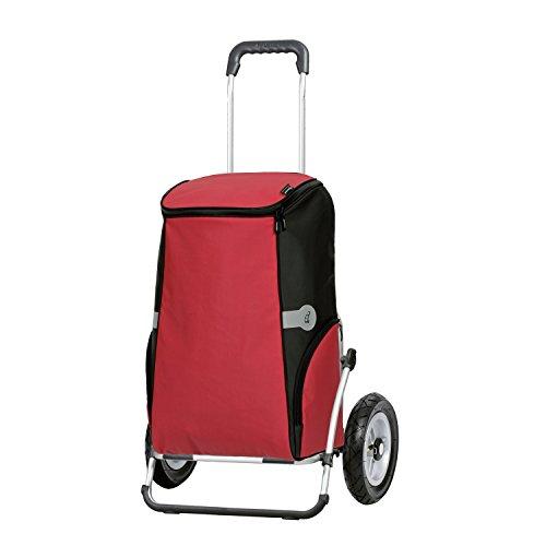 Andersen Sondermodell Einkaufstrolley Royal XXL klappbar mit kugelgelagertem Rad luftbereift 25 cm und 60 Liter Einkaufstasche Rune rot mit Kühlfach