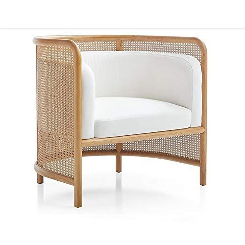 WNN Tela Apartamento pequeño sofá Moderna Simple de Madera Maciza Silla Rattan Sala de Estar Libre de ratán Sofá Silla Individual URG