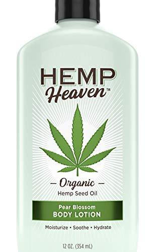 NEW & IMPROVED Hemp Heaven Pure, Organic & Natural Hemp Seed Oil Moisturizing body Lotion - Pear Blossom - For Men & Women. Vitamins, Minerals, Omega 3 & Omega 6. ALOE VERA & FLOWER EXTRACT. 12 Oz