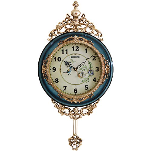 SHISEDECO Elegant, Traditional, Decorative, Hand Painted Modern Grandfather Wall Clock Fancy Ethnic Luxury Handmade Decoration, Swinging Pendulum for New Room or Office. Large. 29.5 Inch. (Blue)