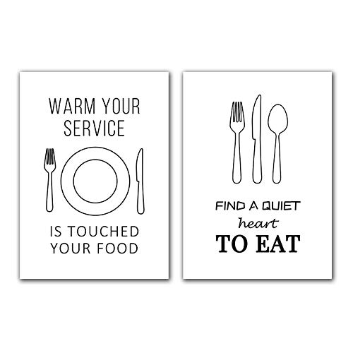 Zwart Wit Servies Canvas Art Schilderen Print Mes En vork Plaat Poster Foto Voor Restaurant Modern Home Decor 11.8x19.6 (30x50 cm) X2 Frameloze