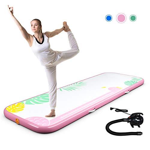 DREAMADE Air-Track Gymnastikmatte 3m, Yogamatte Aufblasbar, Trainingsmatte Weichbodenmatte Luft Matrazen, Fitnessmatte Turnmatte mit Elektronische Pumpe, 300 x 100 x 10 cm (Pink)