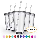 Maars Clear Classic Insulated Tumblers 16 oz. | Double Wall, Reusable Plastic...
