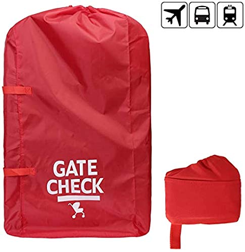 Gate Check Travel Bag - Waterproof Carseat with Webbing Handle for Strollers, Pram, Car Seats, Pushchairs, Boosters, Infant Carriers, Great for Airplane and Storage, Red.