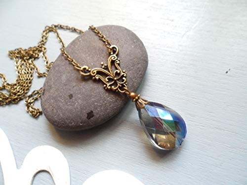 Downton Abbey inspired necklace with a blue teardrop glass pendant, Selma Dreams