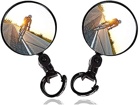 2PCS Bike Mirrors Adjustable Rotatable Handlebar Mounted Plastic Convex Mirror for Mountain product image